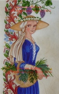 Norman Hothum, medieval style illustrations, peasant girl, vintner, Bauernmädchen, Winzerin,