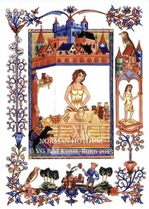 Norman Hothum, medieval style illustrations, Sherborne style, potter, workshop, Töpferin, Werkstatt