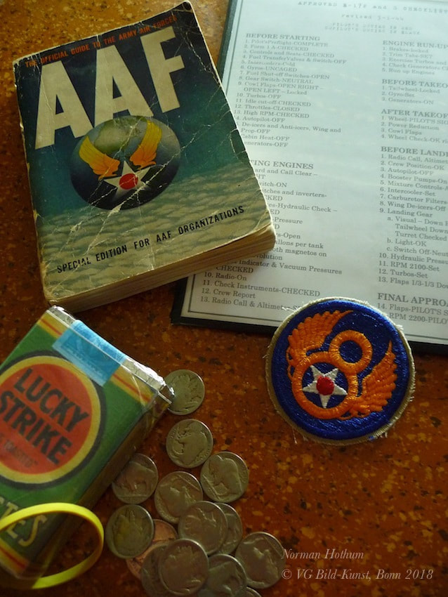 Lucky Strike Cigarettes, 8th Air Force Badge, lucky charm, B-17 start and landing checklist, AAF Guide 1941, Buffalo Nickels